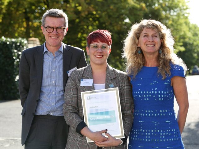 """Award for Lou Rudkin in recognition for her work with the Nottingham Forest """"It's Tricky to Talk"""" campaign."""
